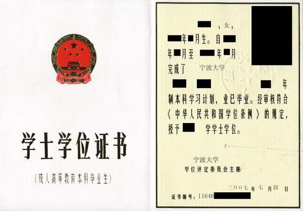 宁波大学成人教育学位证书
